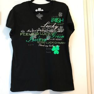 """Any 3 for $21. Tee shirt. """"Feeling Lucky"""" XL."""